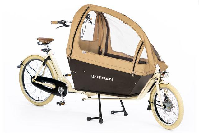 Tent cargobike long all open mat creme