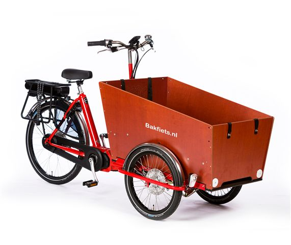 B-062 BAKFIETS CLASSIC TRIKE SMAL STEPS NNi ROOD MET LICHTE SHIMANO STEPS MIDDEN MOTOR_
